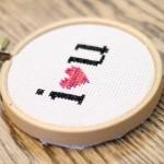cross stitch I heart you.