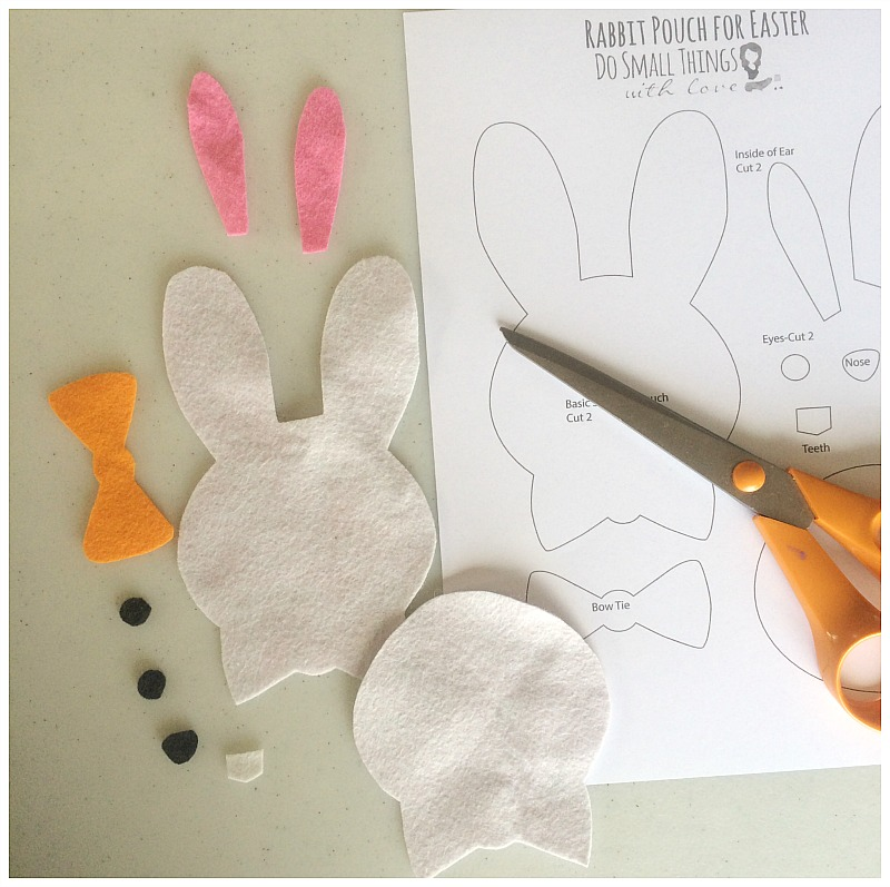 felt bunny pouch supplies