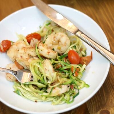 Paleo Shrimp, Bacon and Tomato Pasta Recipe