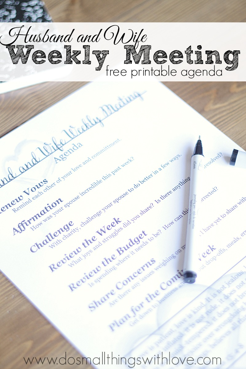 Husband And Wife Meeting–Printable Agenda