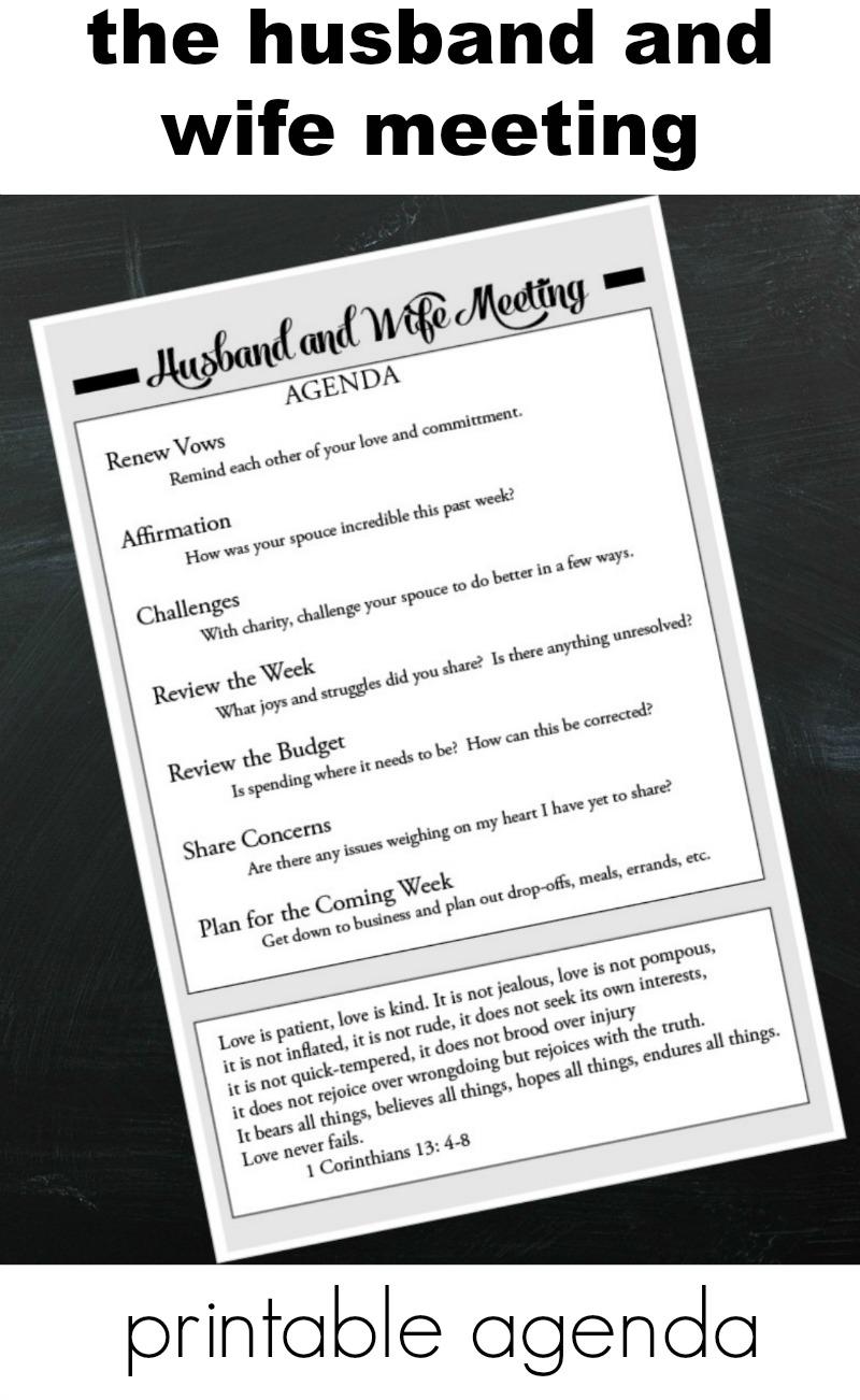 Husband And Wife Meeting Printable Agenda Do Small