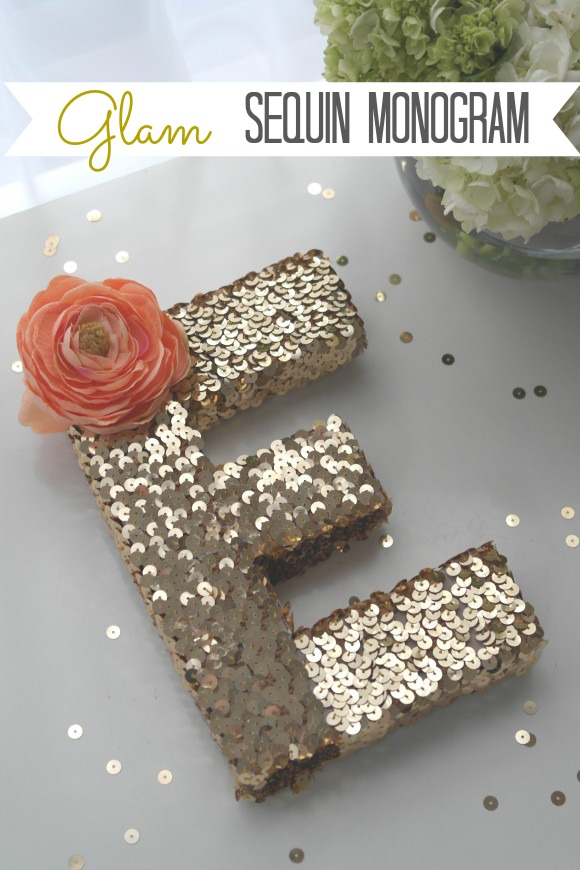 50 monogram crafts do small things with great love glam sequin monogram letter diyg solutioingenieria Gallery