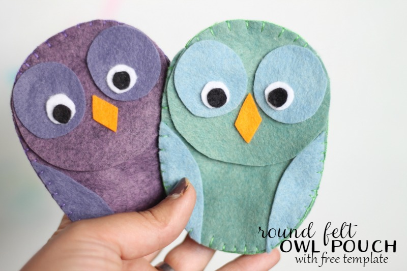 round owl pouch made from felt with free template