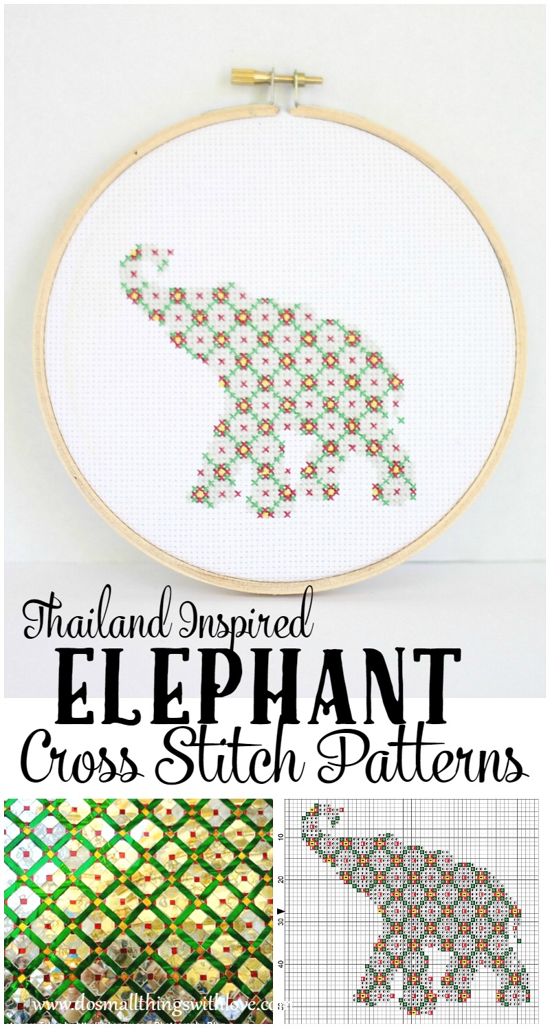 Thailand Inspired FREE elephant cross stitch patterns