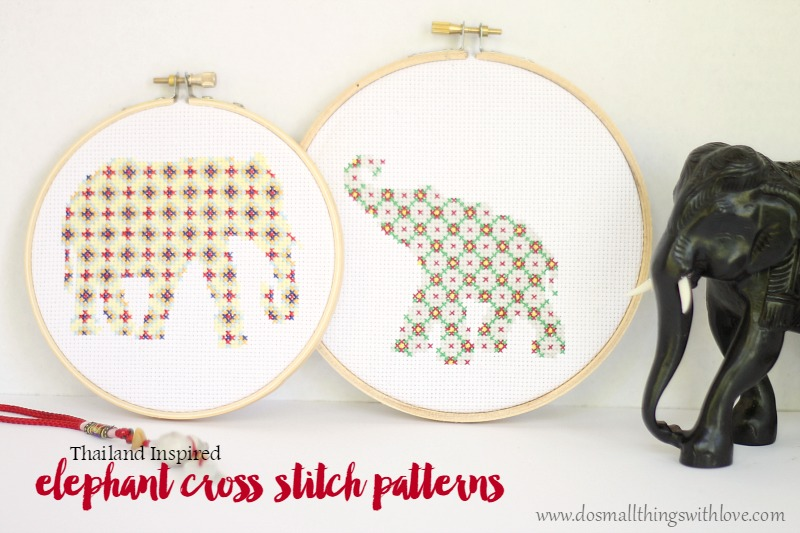 Thailand inspired elephant cross stitch patterns
