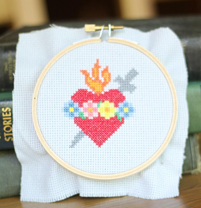 immaculate heart cross stitch pattern
