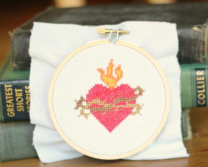 sacred heart cross stitch pattern