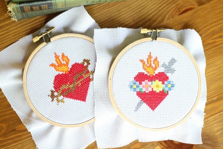 Sacred and Immaculate Heart Free Cross Stitch Patterns