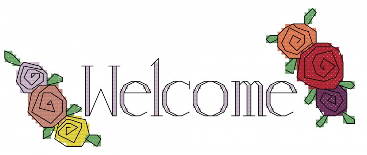 Welcome Flowers Cross Stitch Pattern