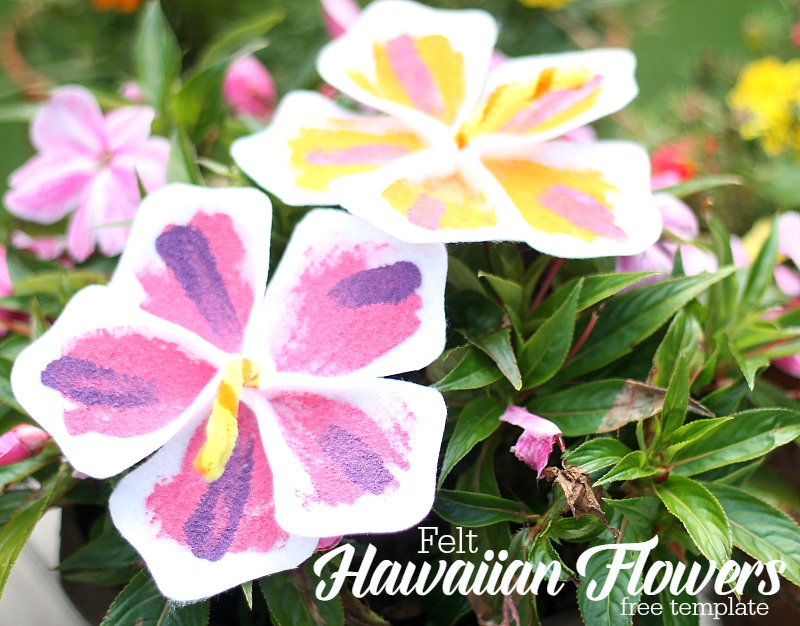 felt hawaiian flowers {free template}  do small things with love, Beautiful flower