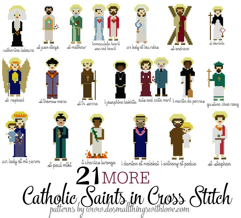 21 More Catholic Saints in Cross Stitch