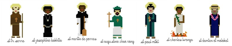Diverse Saints in Cross Stitch