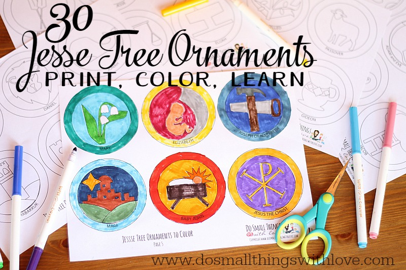 Jesse Tree Ornaments to Print and Color Do Small Things with Great