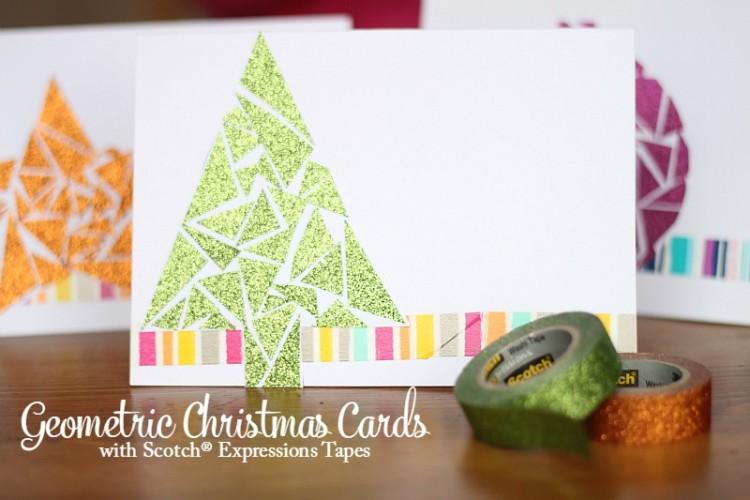 Geometric Greeting Cards with Brand Scotch Tape