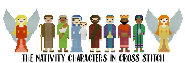 Nativity Characters in cross stitch