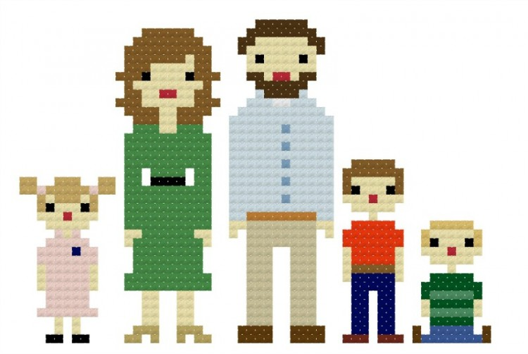 Custom Family Portrait Cross Stitch Pattern