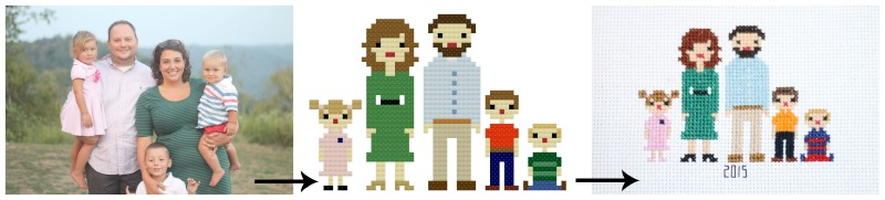 custom cross stitch patterns of families