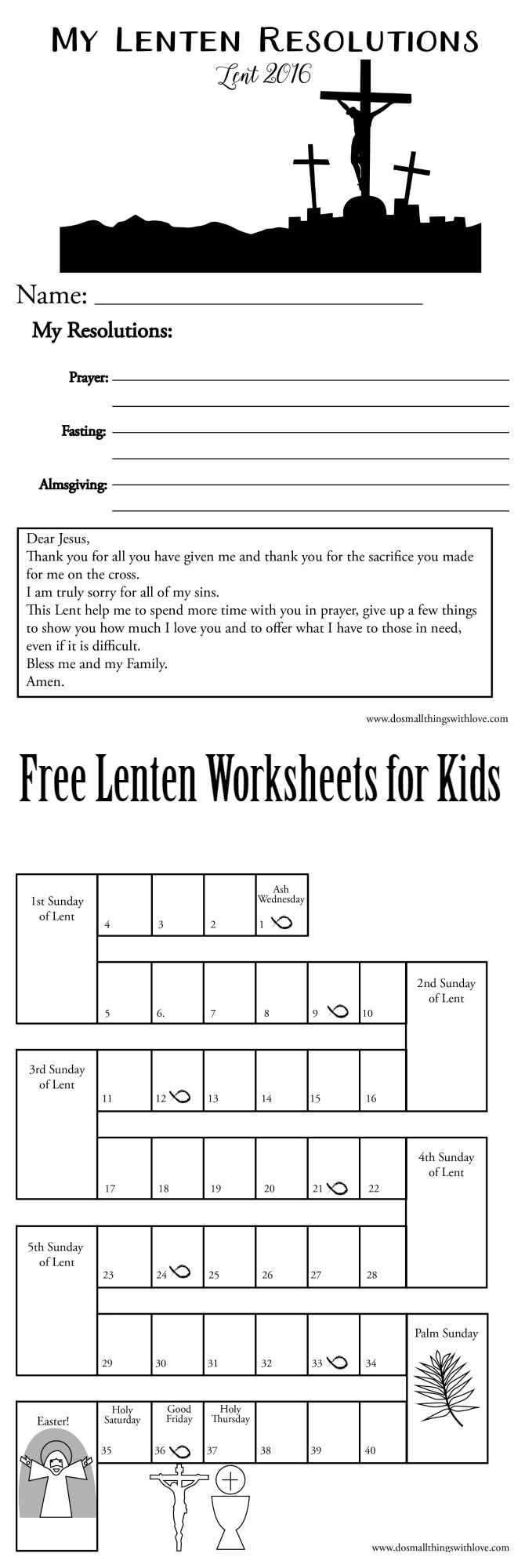 Lenten Worksheets For Kids {Free Printable} – Do Small Things with ...
