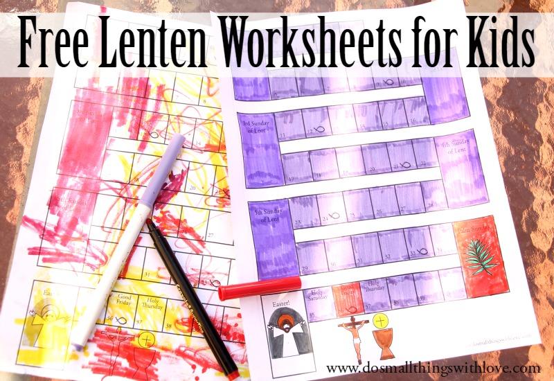 Free lenten worksheets for kids