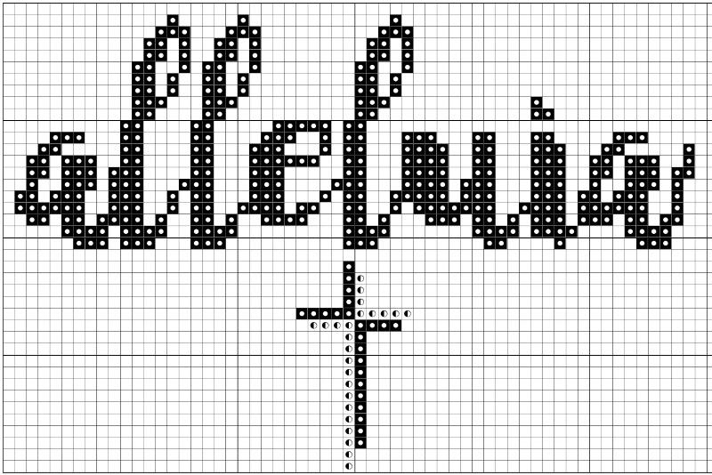 Alleluia easter cross stitch pattern