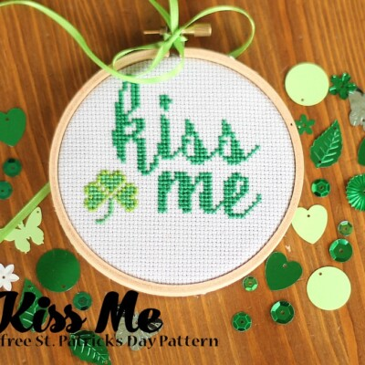 Kiss Me–Free Saint Patrick's Day Cross Stitch Pattern