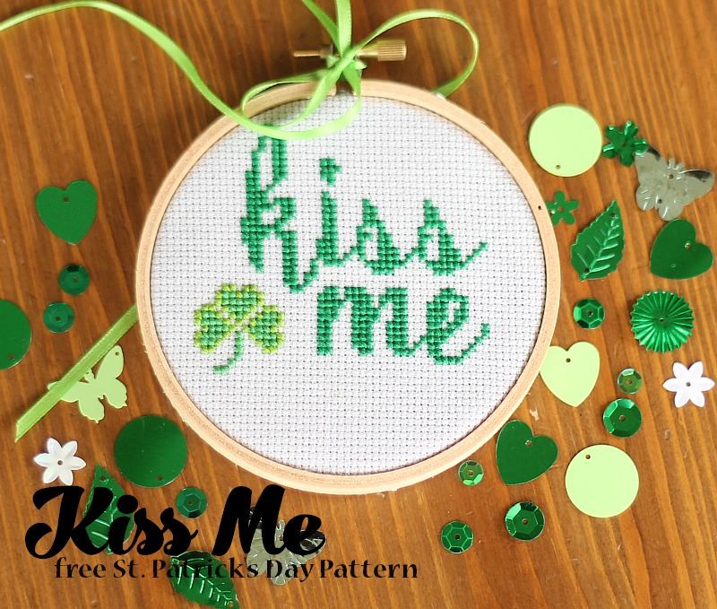 Kiss me free st patrick's day cross stitch pattern