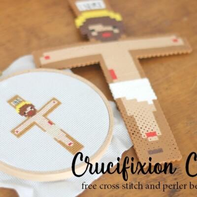 Crucifixion Craft: Cross Stitch and Perler Bead Pattern