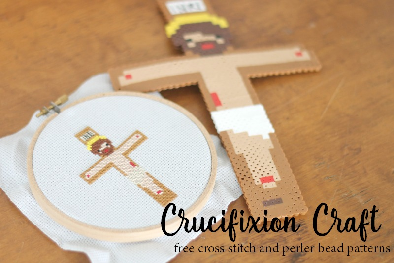 crucifixion craft, free cross stitch and perler bead patterns