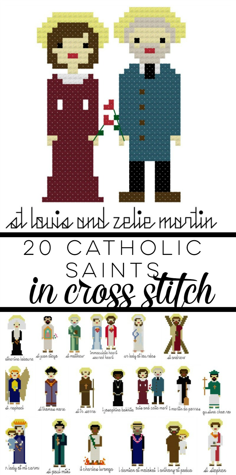 20 Catholic Saints in Cross Stitch