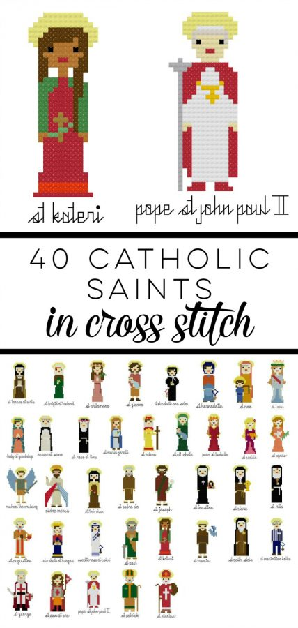 40 Catholic Saints in Cross Stitch