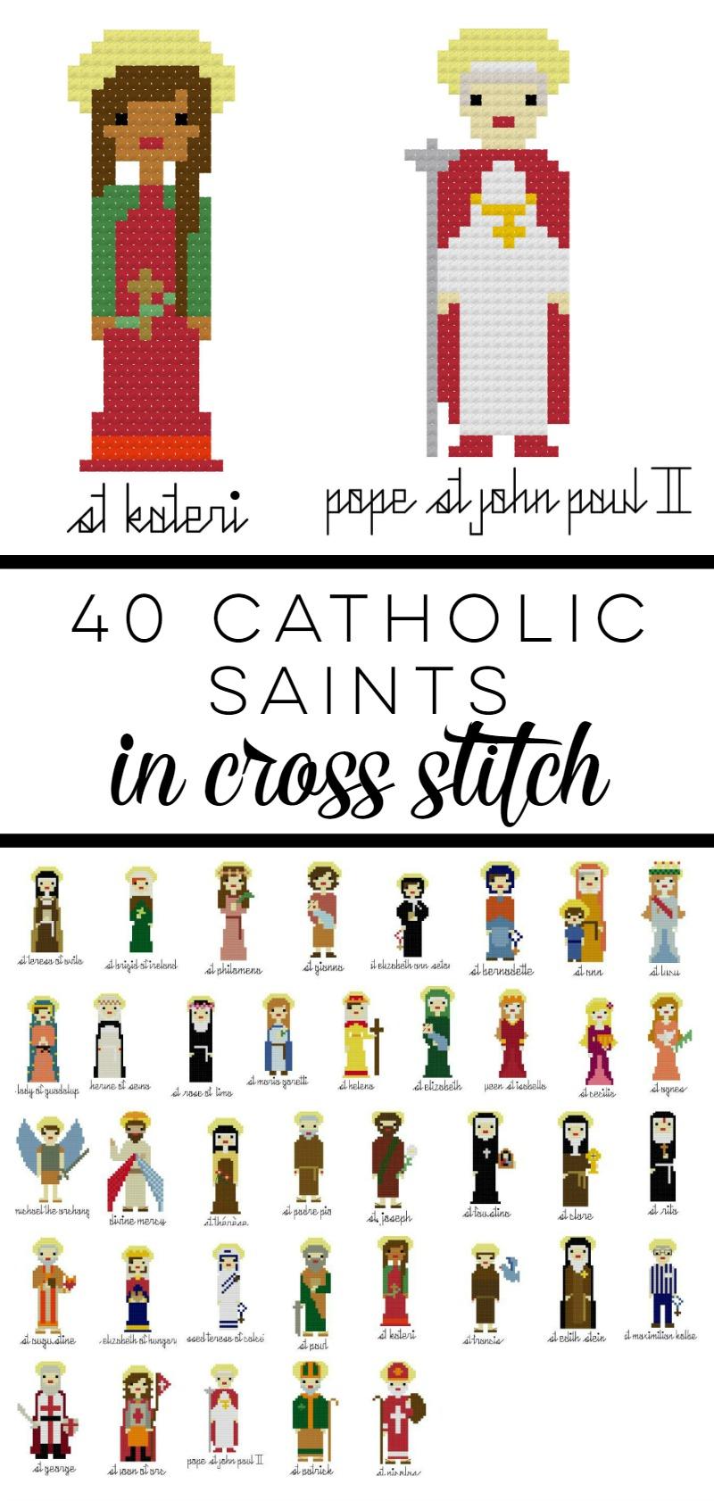 40 Catholic Saints in Cross Stitch