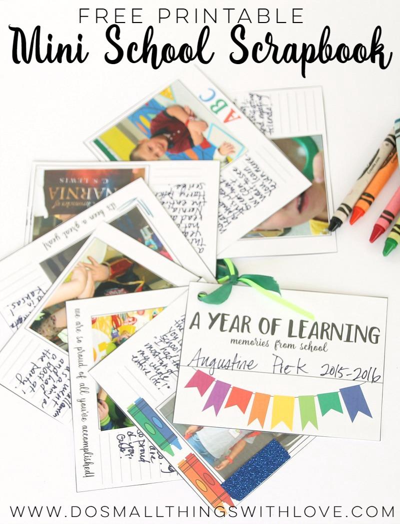 Free Printable Mini School Year Scrapbook