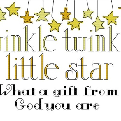 Twinkle Twinkle Baby Announcement Cross Stitch Pattern