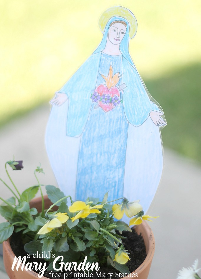 a child's mary garden with free printable statues