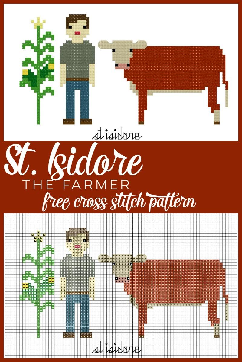St. Isidore Free Cross Stitch Pattern