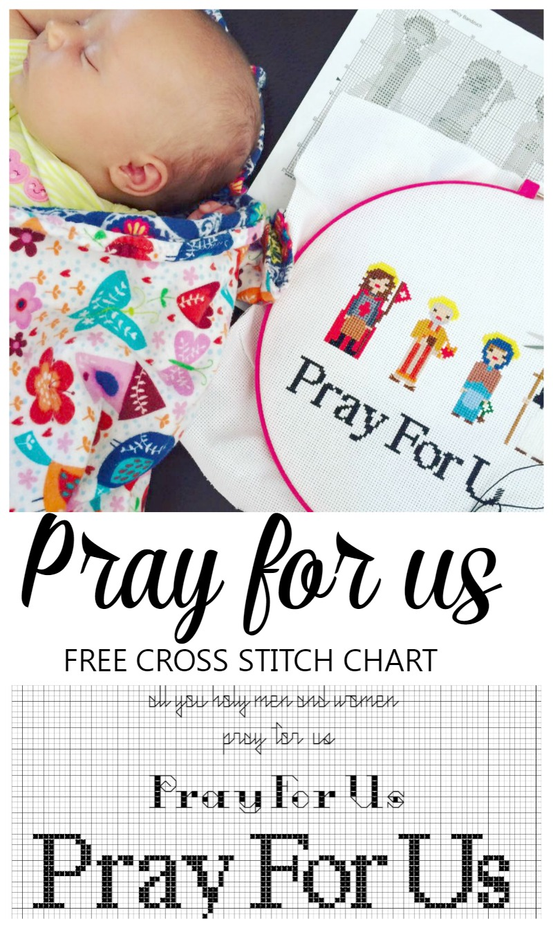 Pray for Us Free Cross Stitch Chart