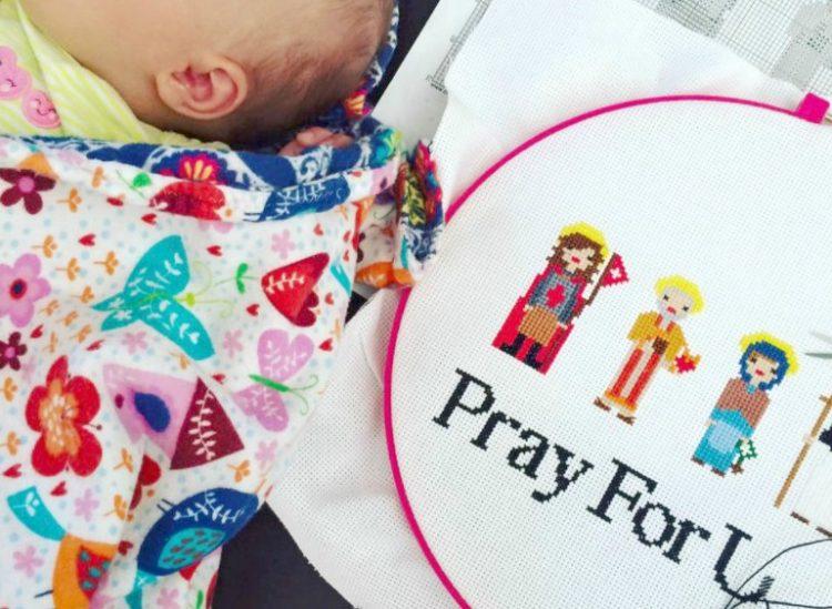 Pray for Us Free Cross Stitch Pattern