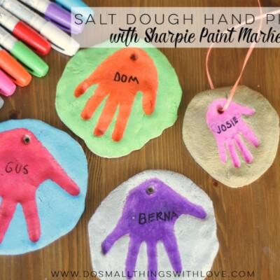 Colorful Salt Dough Handprints
