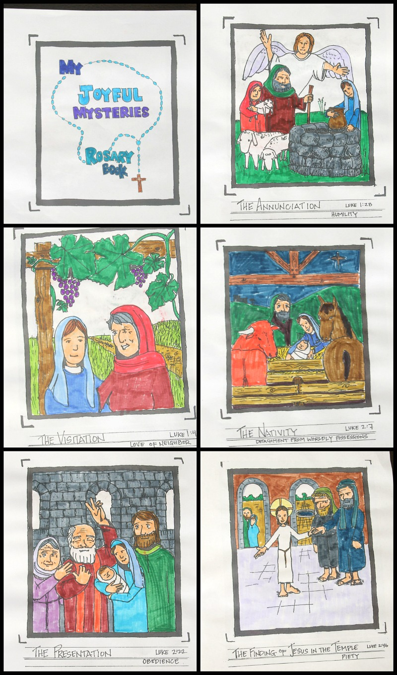 Joyful mysteries of the rosary free coloring book do for Joyful mysteries coloring pages